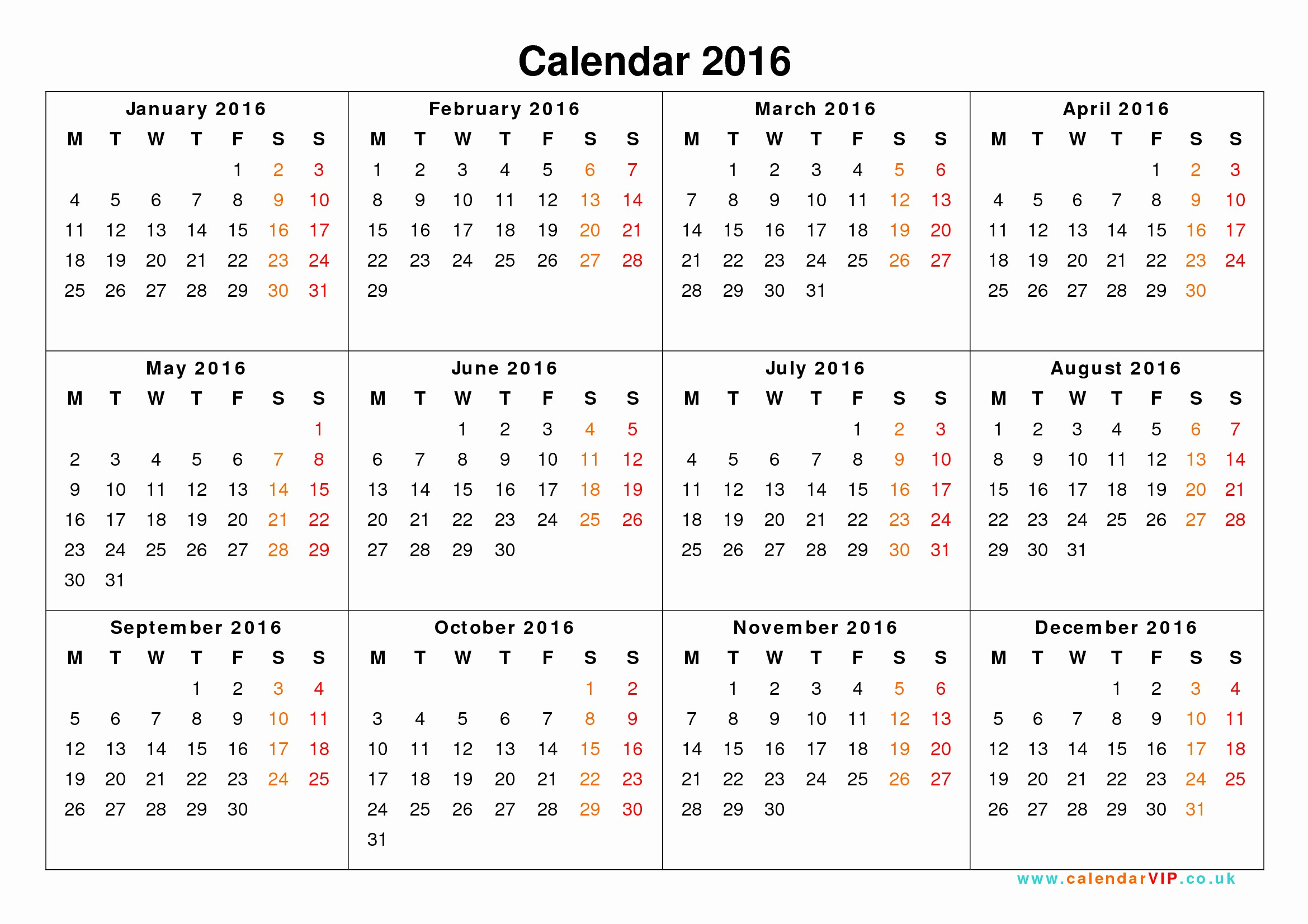 12 Months Calendar 2016 Printable Fresh Calendar 2016 Uk Free Yearly Calendar Templates for Uk
