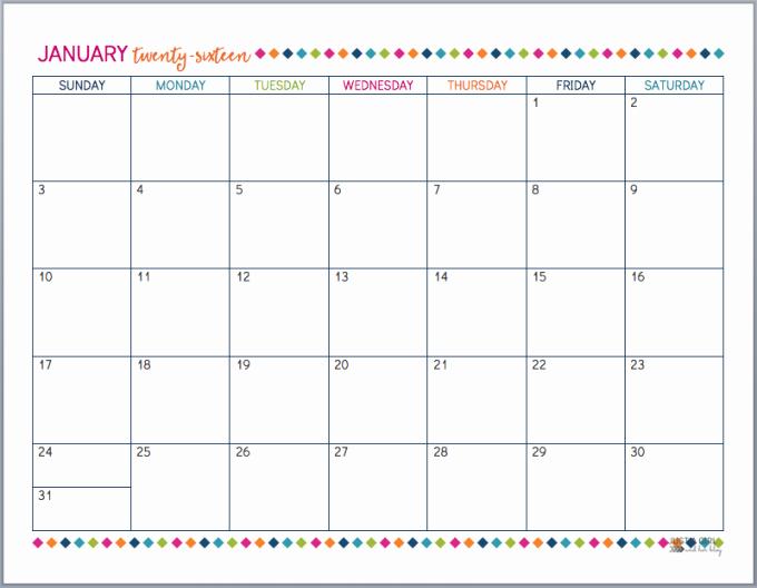 12 Months Calendar 2016 Printable Fresh Printable 2016 Calendar by Month Free
