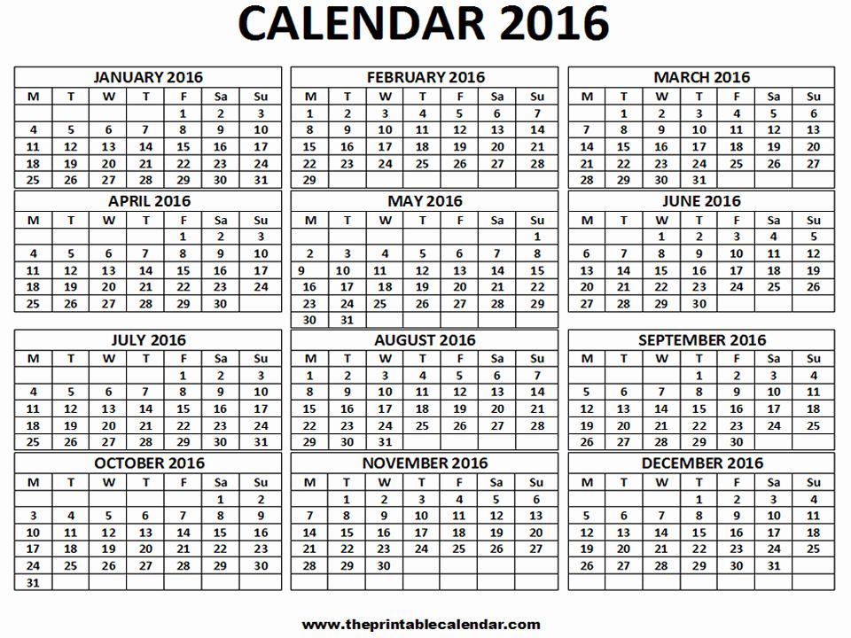 12 Months Calendar 2016 Printable Inspirational 2016 Calendar 12 Months Calendar On One Page Free
