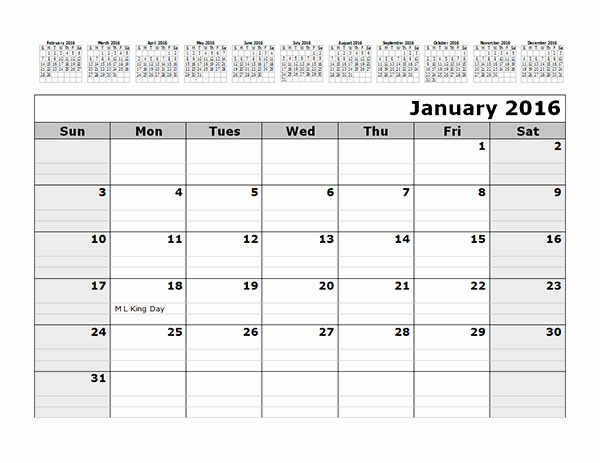 12 Months Calendar 2016 Printable Lovely 2016 Monthly Calendar Template with 12 Months at top