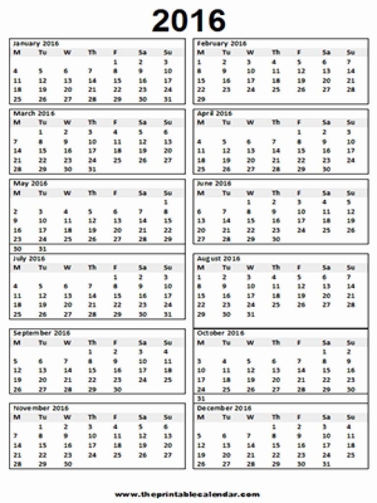 12 Months Calendar 2016 Printable Luxury 12 Month Calendar E Page