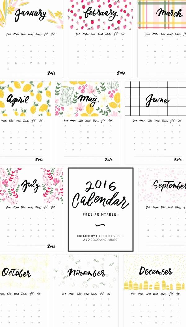 12 Months Calendar 2016 Printable New 16 Free 2016 Printable Calendar