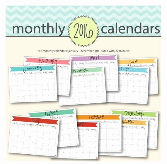 12 Months Calendar 2016 Printable New Printable 2016 Monthly Calendar 12 Printable by