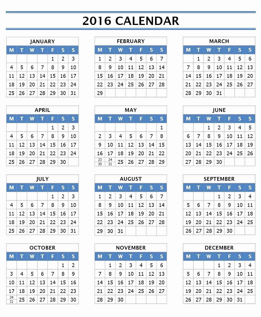 12 Months Calendar 2016 Printable Unique 2016 Calendar Templates
