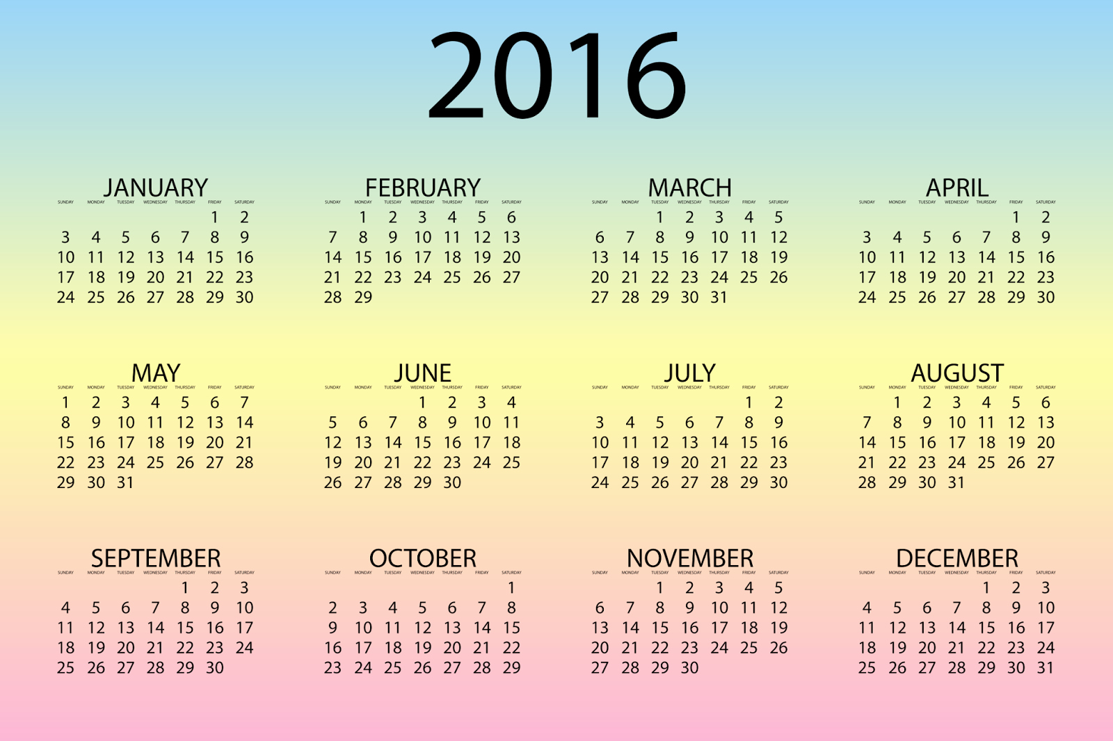 12 Months Calendar 2016 Printable Unique Happy New Year 2016 Calendar Holidays In India