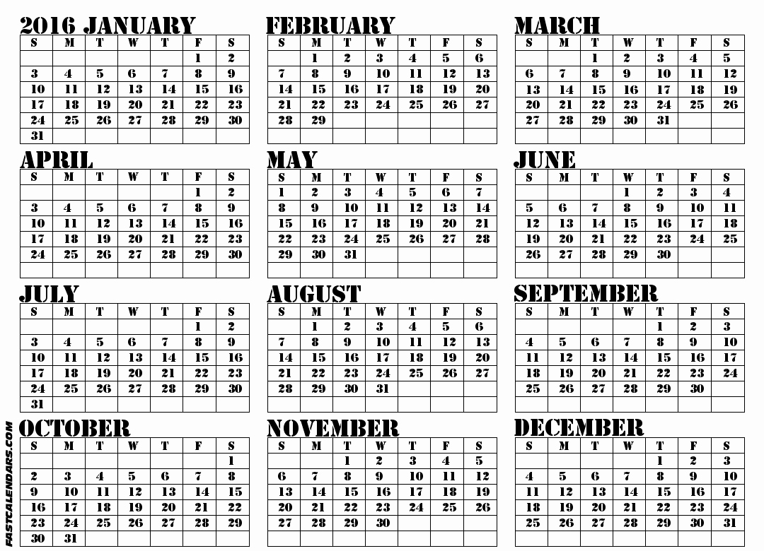 """12 Months Calendar 2016 Printable Unique Search Results for """"printable Full Size Calendar"""