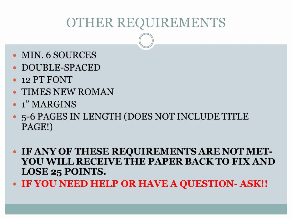 12 Point Font Double Spaced Unique Research Paper Requirements Ppt