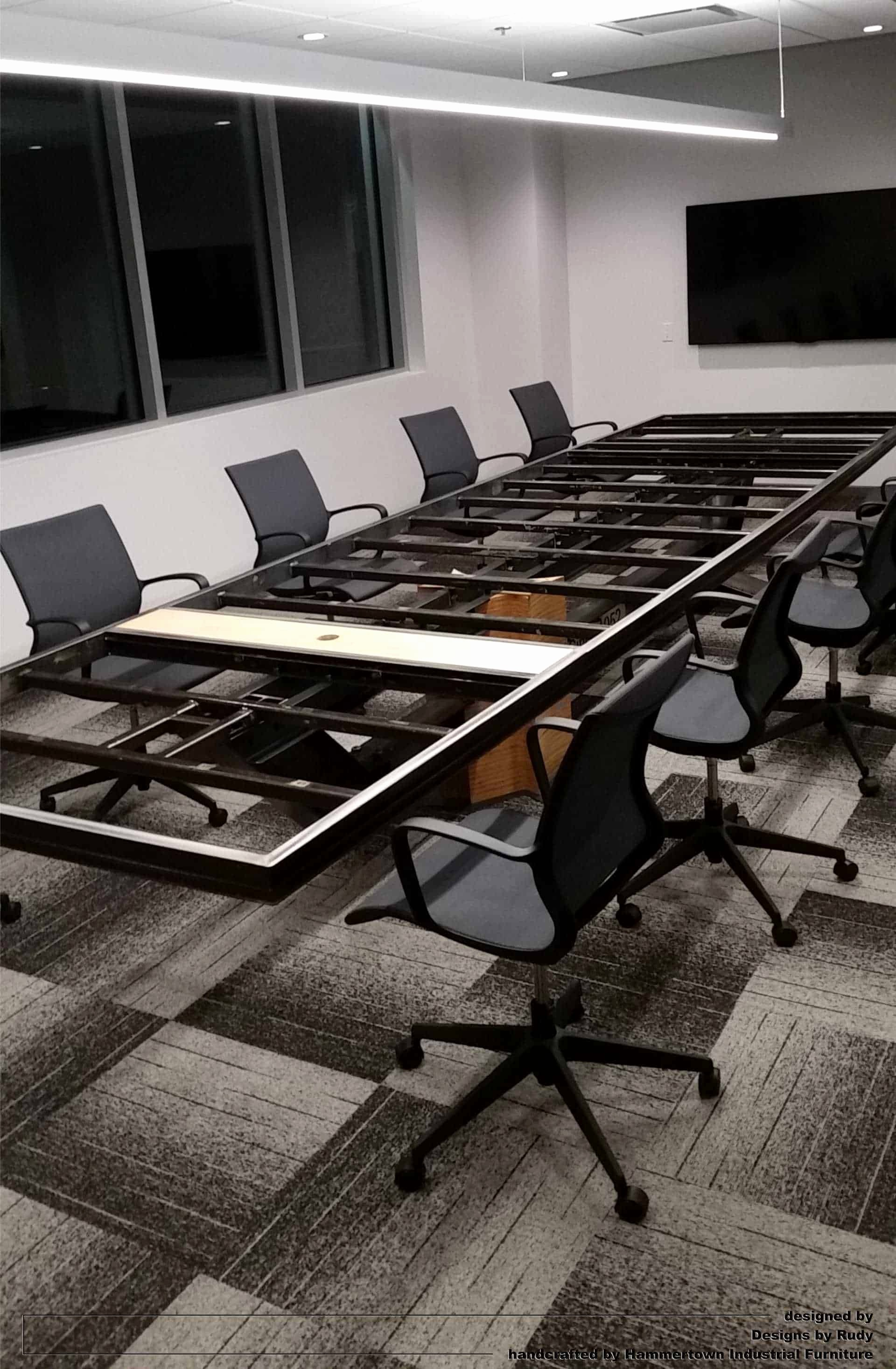12*12 Multiplication Table Awesome Concrete top and I Beam Frame Conference Room Table