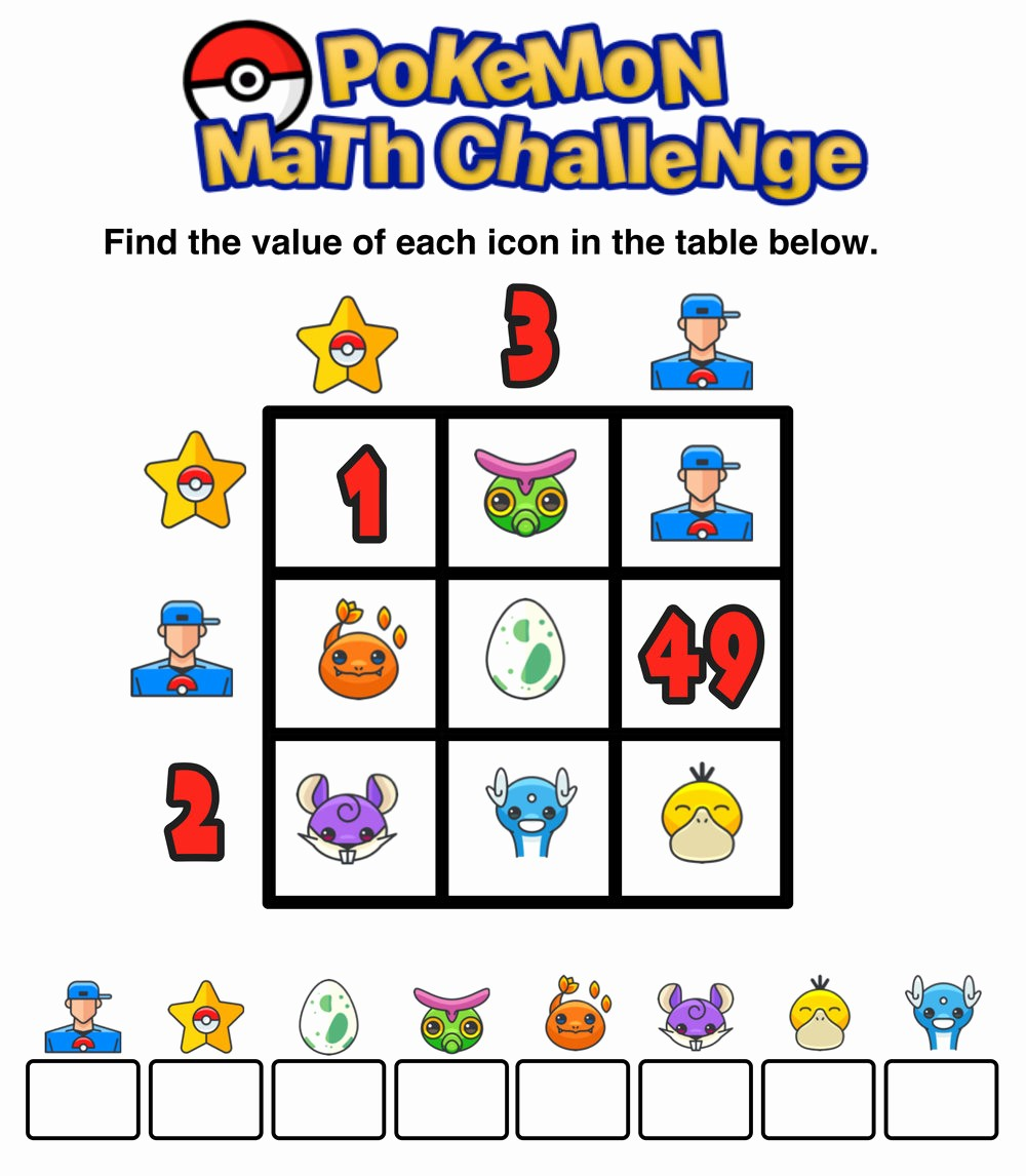 12*12 Multiplication Table Fresh Have You Seen these Free Pokémon Math Puzzles — Mashup Math