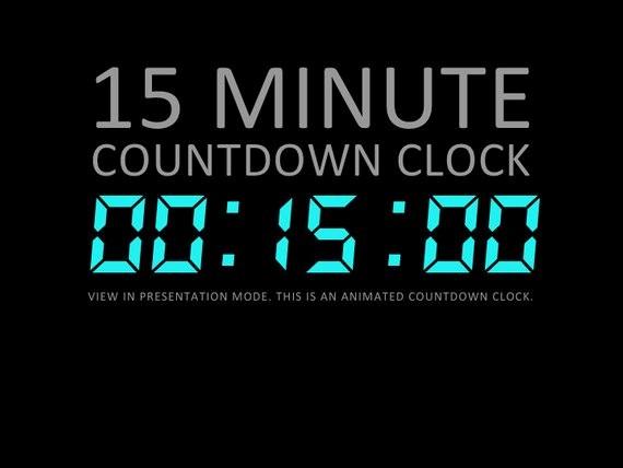 15 Minute Timer with Buzzer Elegant 15 Minute Digital Countdown Clock Presentation Powerpoint