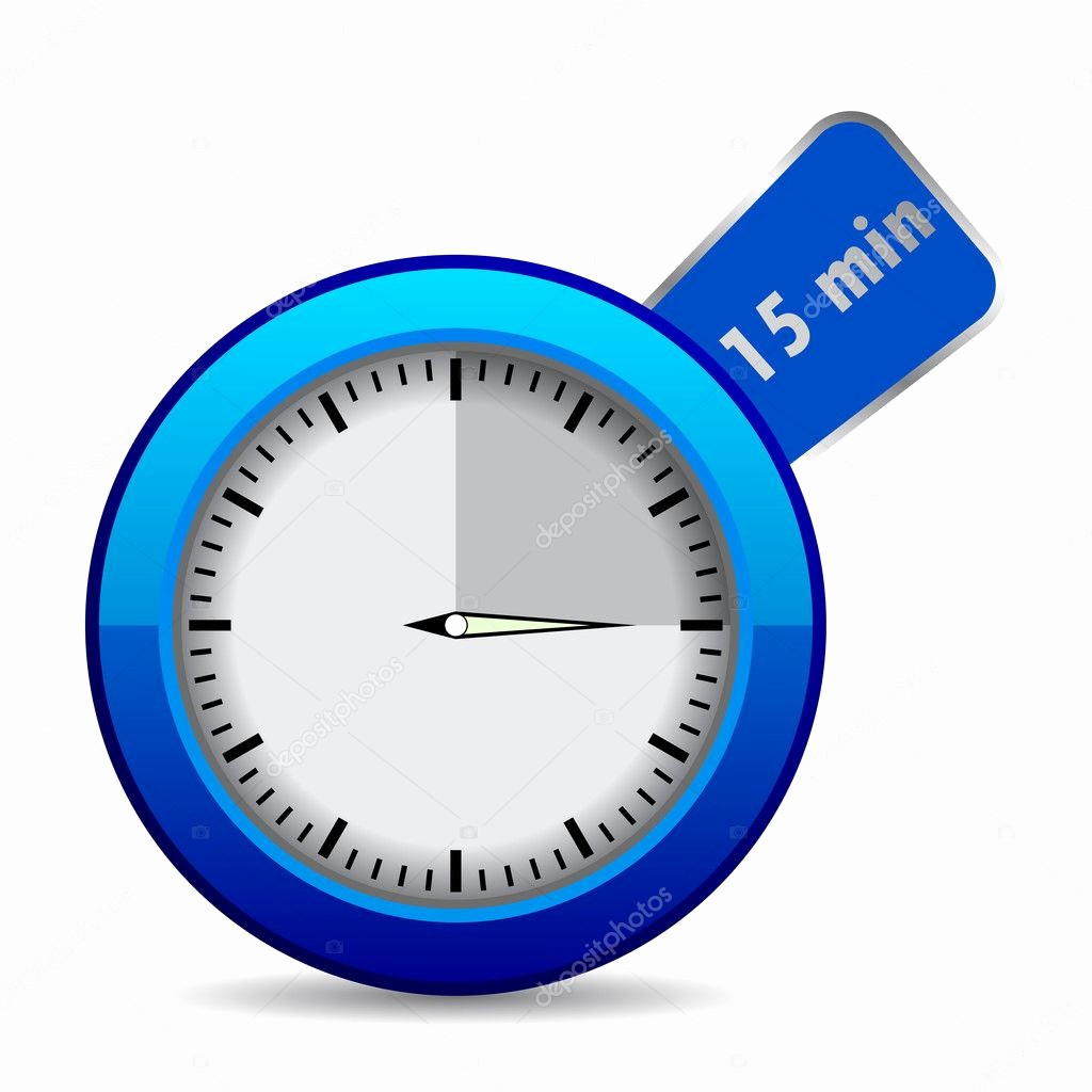 """15 Minute Timer with Buzzer Fresh Blue Vector Timer """"15 Min"""" — Stock Vector © Dezign80"""