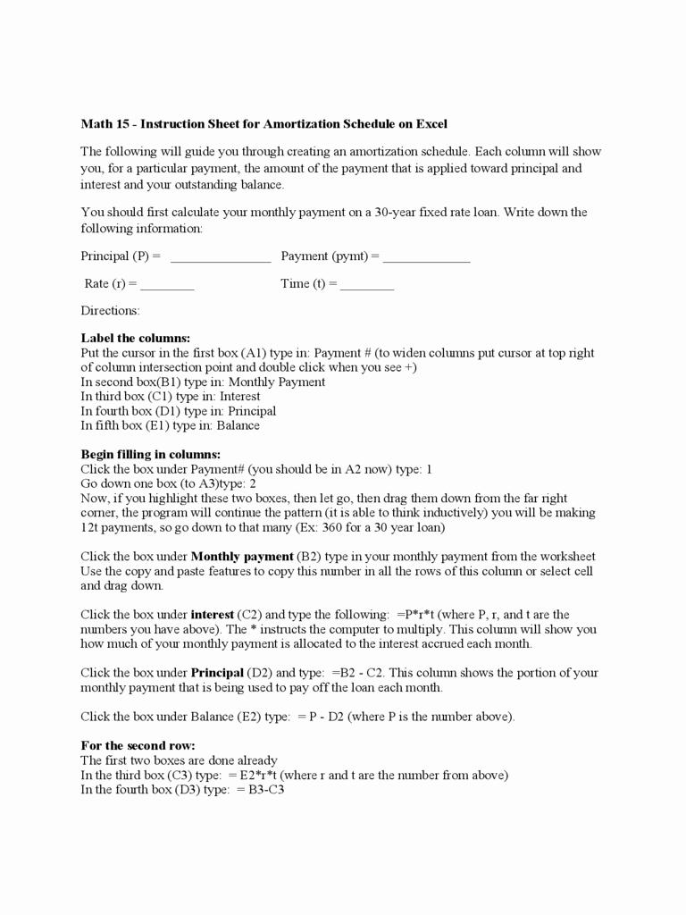 15 Year Amortization Schedule Excel Elegant Instruction Sheet for Amortization Schedule On Excel