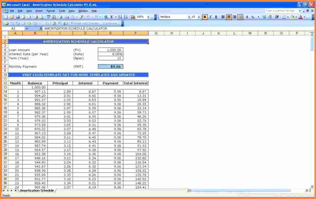 15 Year Amortization Schedule Excel Lovely 10 Mortgage Spreadsheet Template