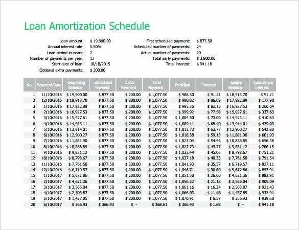15 Year Amortization Schedule Excel Unique Personal Loan Amortization Schedule Excel Table Sample