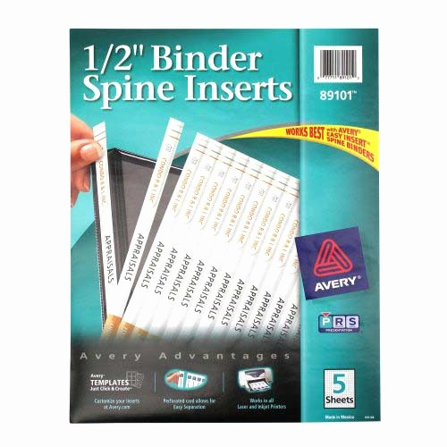 "1"" Binder Spine Template Fresh Avery 1 2"" White Binder Spine Inserts 1pk Of 80"