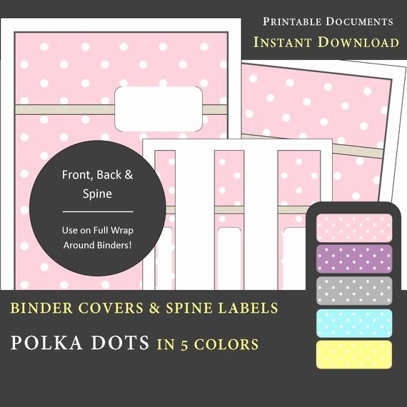 "1"" Binder Spine Template New Printable Binder Covers & Spine Label Inserts Polka Dot"