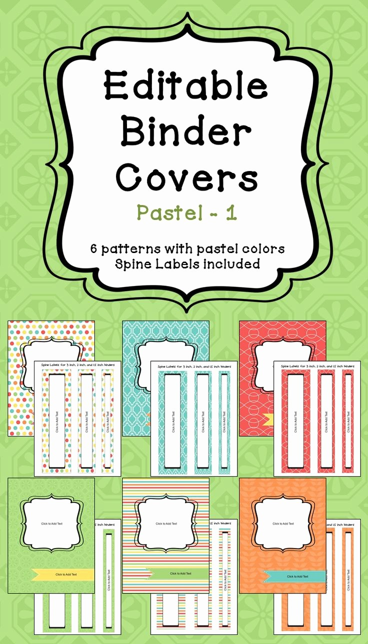 """1"""" Binder Spine Template Unique Editable Binder Covers & Spines In Pastel Colors Part 1"""