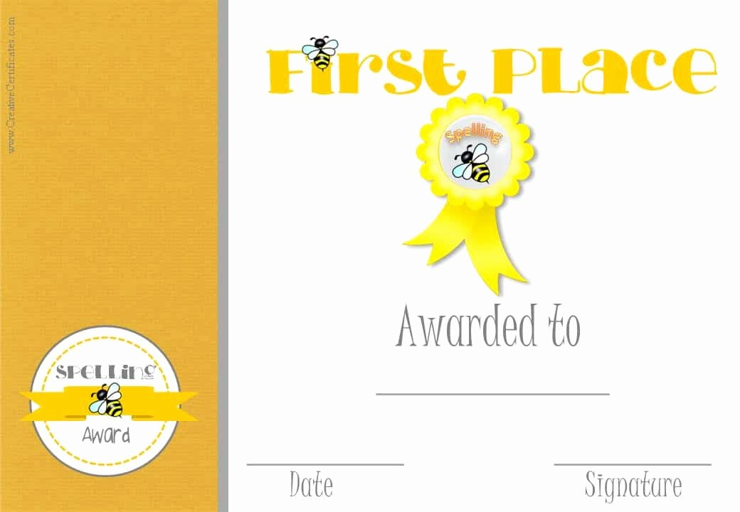 1st Place Certificate Template Word Beautiful Free Spelling Bee Certificate Templates Customize Line