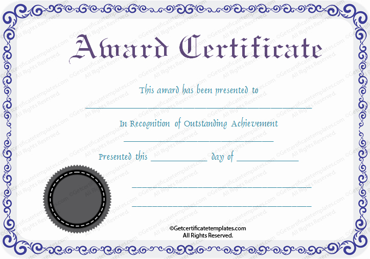 1st Place Certificate Template Word Beautiful Print Seal Award Certificate Template