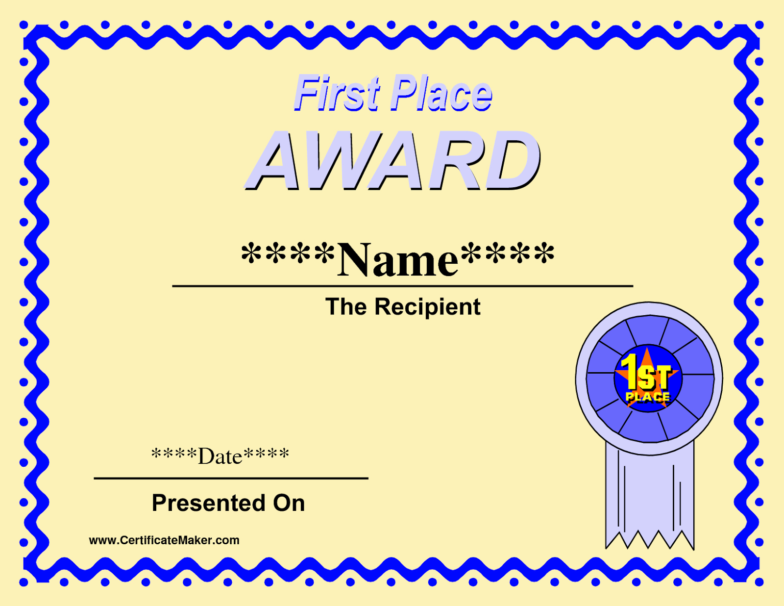 1st Place Certificate Template Word Beautiful Printable Winner Certificate Templates D Templates