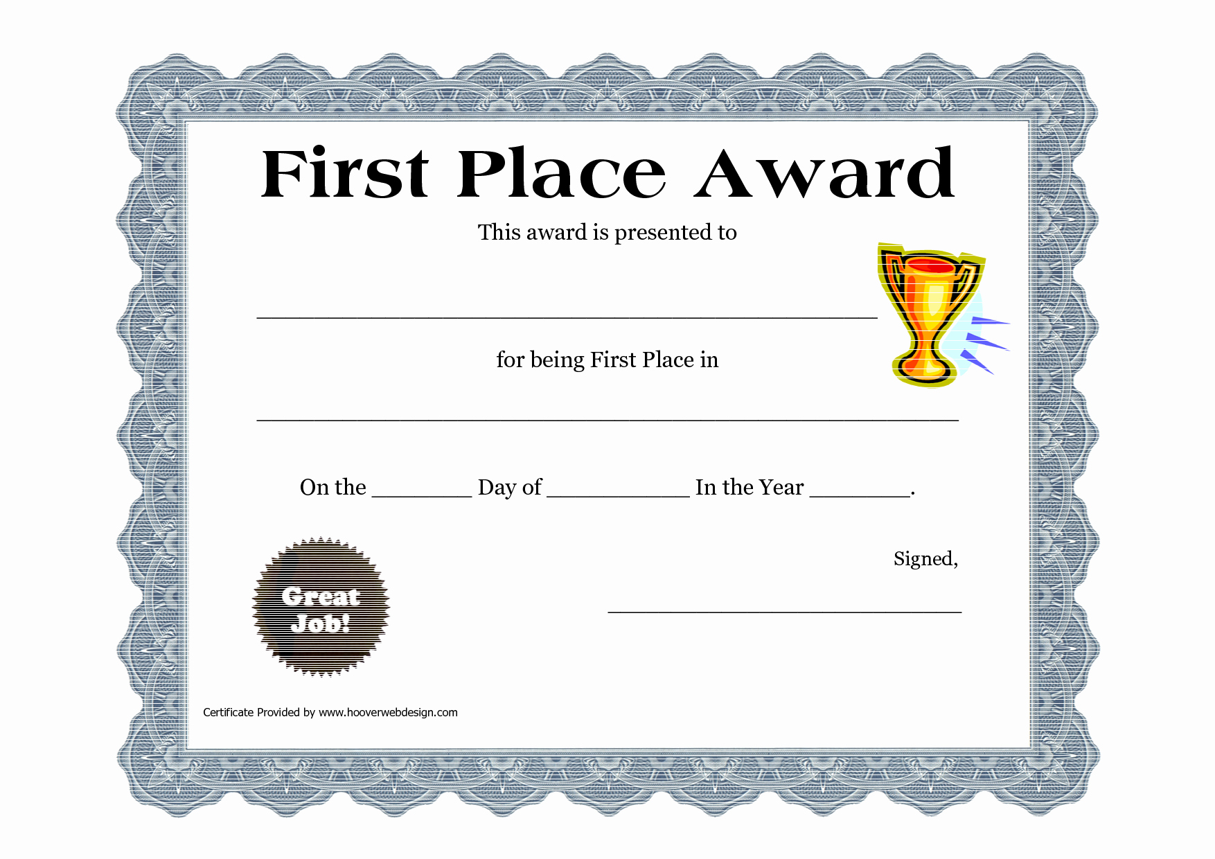 1st Place Certificate Template Word Elegant Customizable Printable Certificates