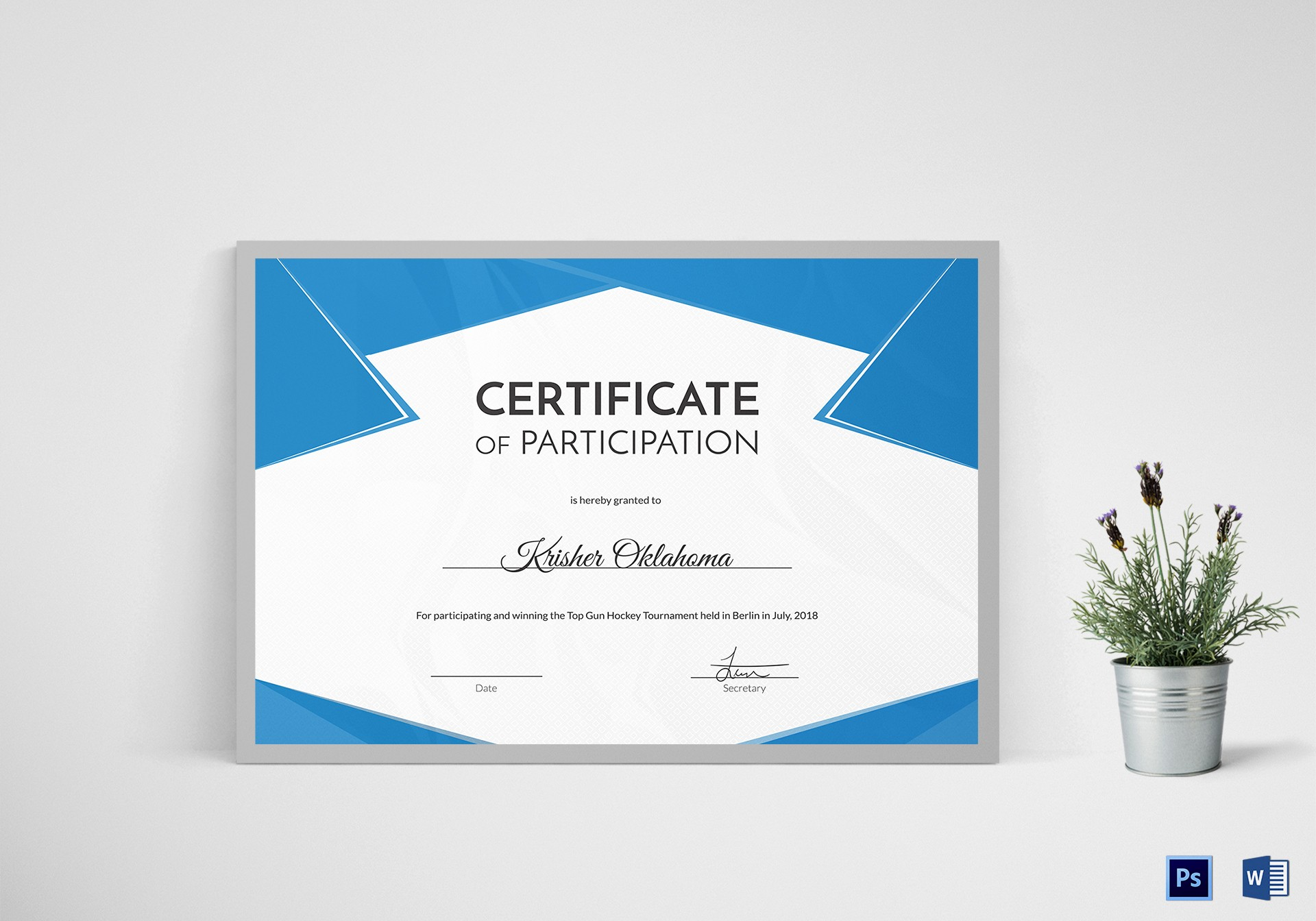1st Place Certificate Template Word Elegant Hockey First Place Certificate Design Template In Psd Word