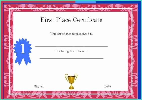 1st Place Certificate Template Word Inspirational 57 First Place Certificate Template Word