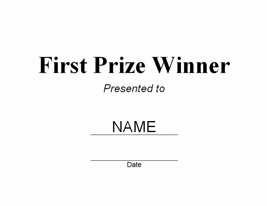 1st Place Certificate Template Word Lovely First Prize Winner Certificate