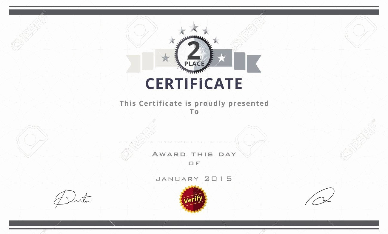 1st Place Certificate Template Word New Second Prize Certificates