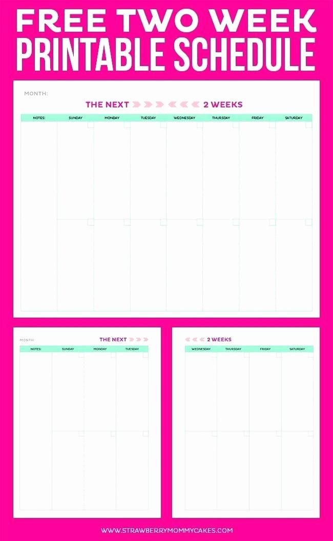 2 Week Calendar Template Word Fresh Two Week Printable Calendar Microsoft Word Weekly Template