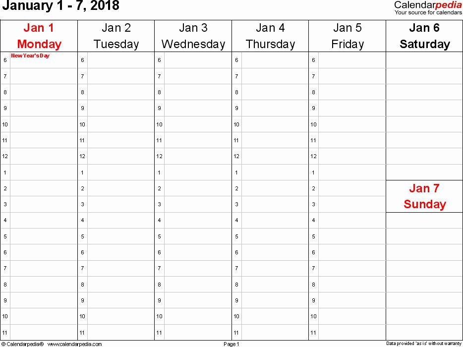 2 Week Calendar Template Word Fresh Weekly Calendar 2018
