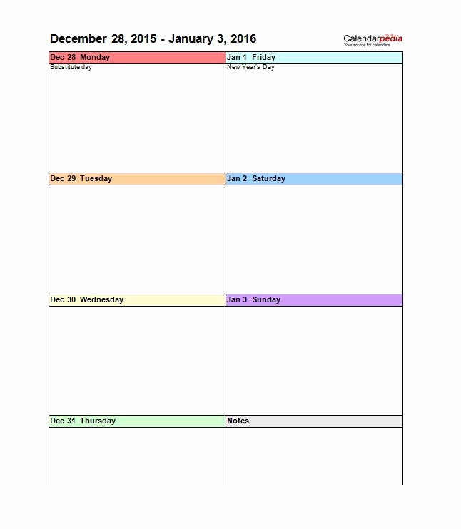 2 Week Calendar Template Word New 26 Blank Weekly Calendar Templates [pdf Excel Word