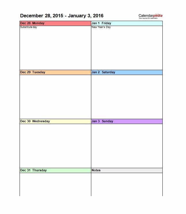 2 Week Calendar Template Word New 26 Blank Weekly Calendar Templates [pdf Excel Word
