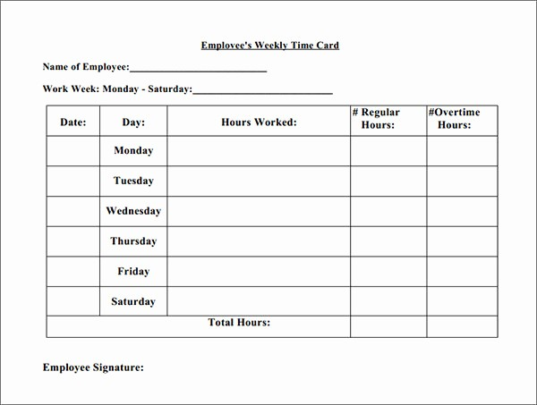 2 Week Time Card Template Awesome 16 Free Amazing Time Card Calculator Templates