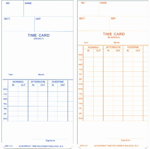 2 Week Time Card Template Beautiful Acroprint atr121 Weekly Bi Weekly Time Cards