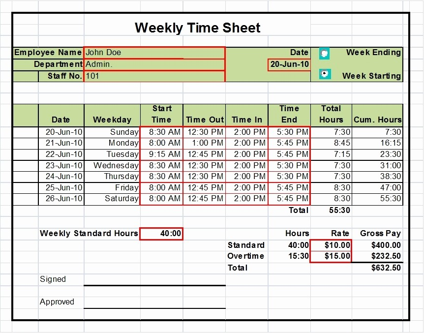 2 Week Time Card Template Beautiful Excel Timesheet Templates