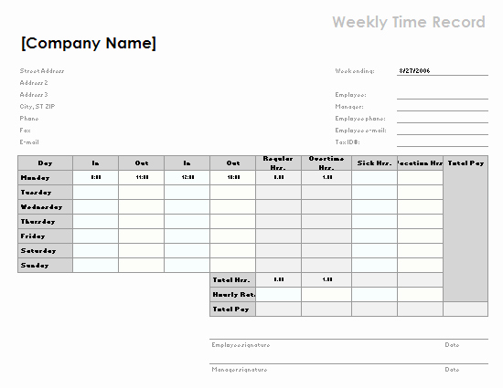 2 Week Time Card Template Best Of Employee attendance Tracker Fice Templates