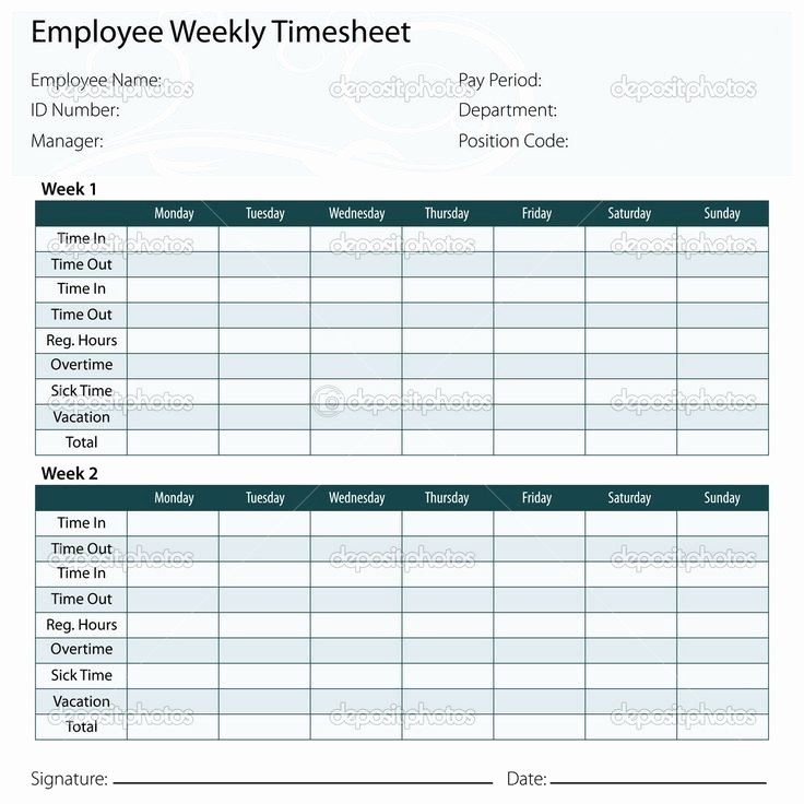 2 Week Time Card Template Elegant Time Card Excel Template Free Free Excel