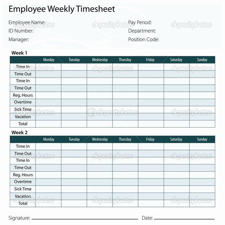 2 Week Time Card Template Elegant Time Card Excel Template Free Free Excel