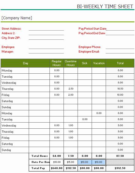 2 Week Time Card Template Luxury Free Printable Bi Weekly Timesheet Template for Excel