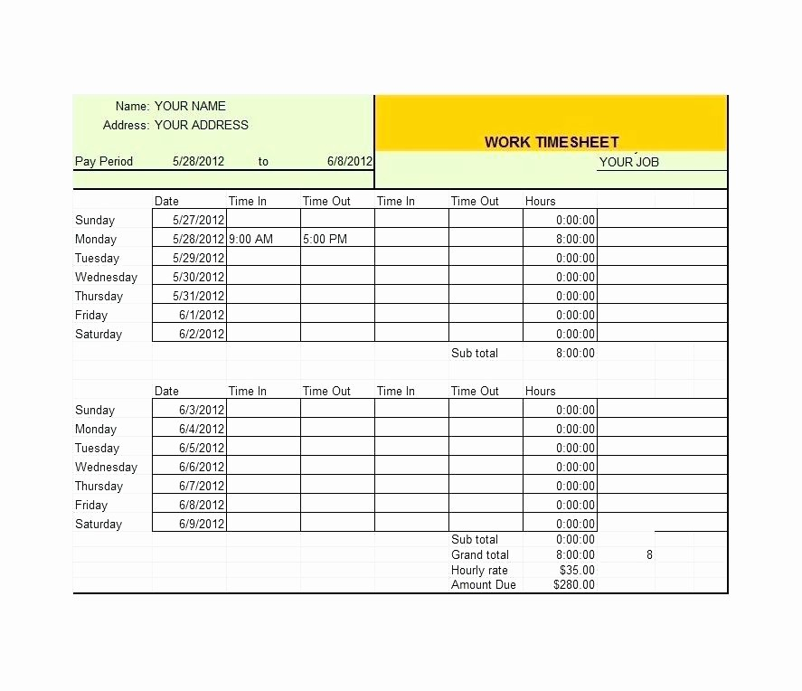 2 Week Time Card Template Luxury Time Card Template Excel Calculator Semi Monthly format