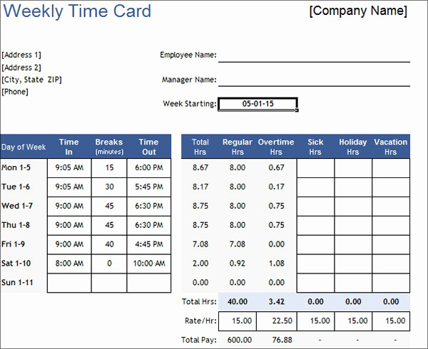 2 Week Time Card Template New 16 Free Amazing Time Card Calculator Templates