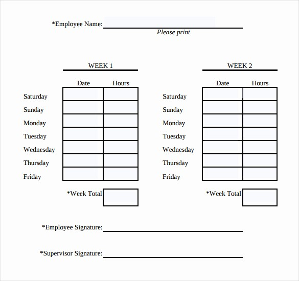 2 Week Time Card Template Unique Simple Timesheet Template Templates Station