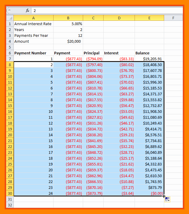20 Year Amortization Schedule Excel Beautiful 28 Tables to Calculate Loan Amortization Schedule Excel