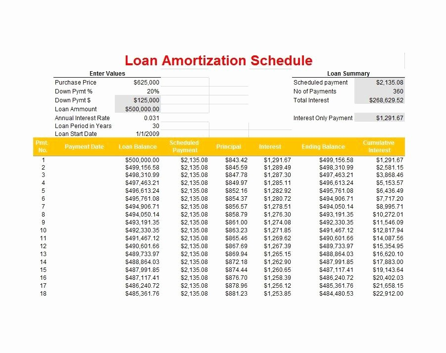 20 Year Amortization Schedule Excel Best Of 28 Tables to Calculate Loan Amortization Schedule Excel