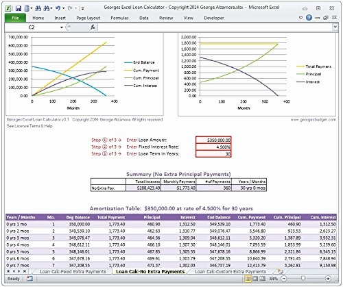 20 Year Amortization Schedule Excel Best Of Georges Excel Loan Calculator V3 1 Mortgage Home Loan