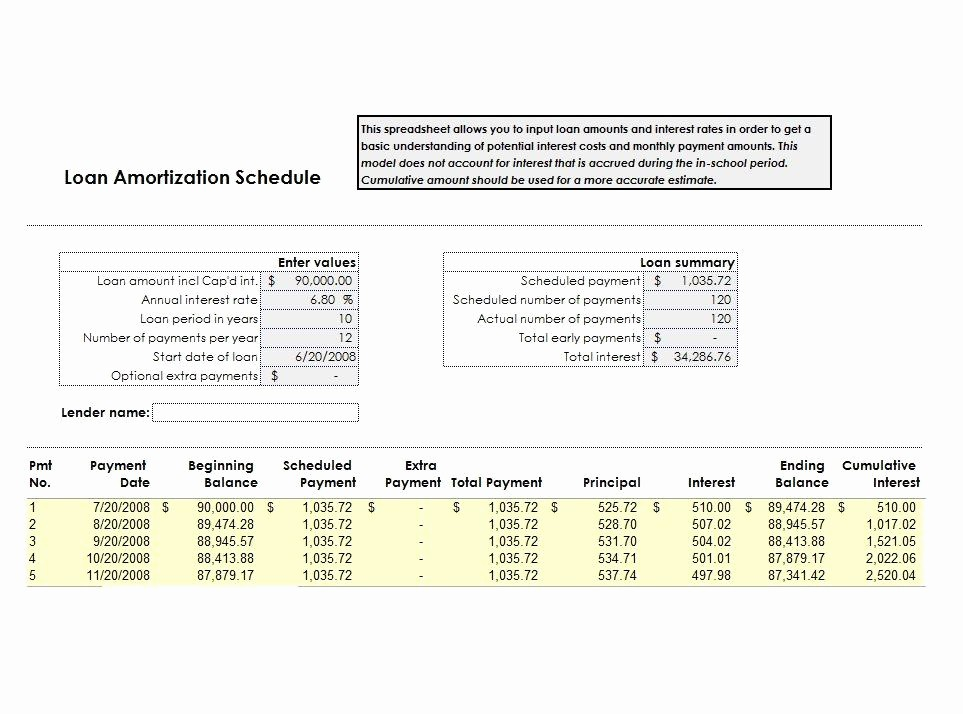 20 Year Amortization Schedule Excel Elegant 28 Tables to Calculate Loan Amortization Schedule Excel
