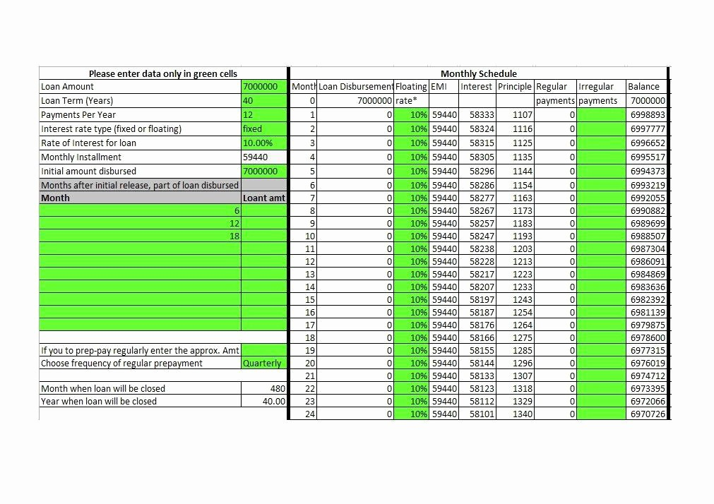 20 Year Amortization Schedule Excel Unique 28 Tables to Calculate Loan Amortization Schedule Excel