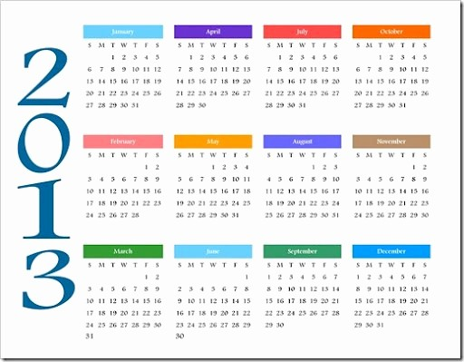 2013 Calendar Printable One Page Awesome 5 Best Of 2013 Yearly Calendar Printable