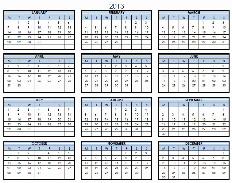 2013 Calendar Printable One Page Awesome Download or View 2014 Calanders